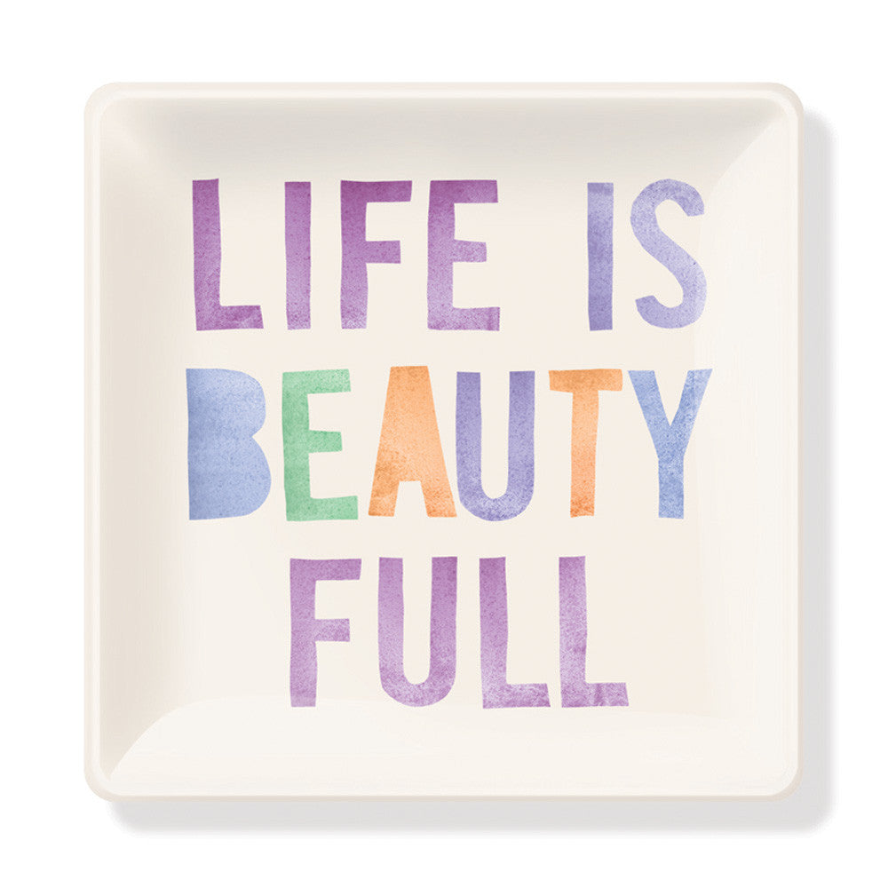 "Pastel Glass Tray ""Life Is Beauty Full"""