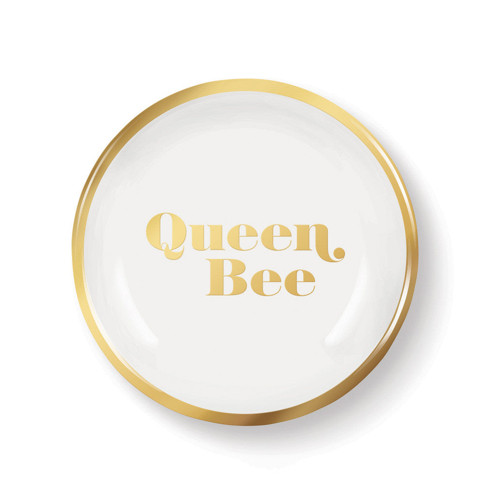 "Pastel Porcelain Round Mini Tray ""Queen Bee"""