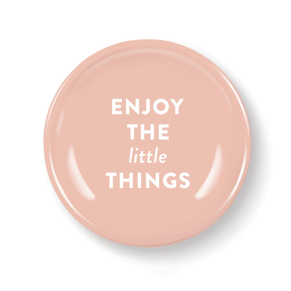 "Pastel Porcelain Round Mini Tray ""Ejoy The Little Things"""