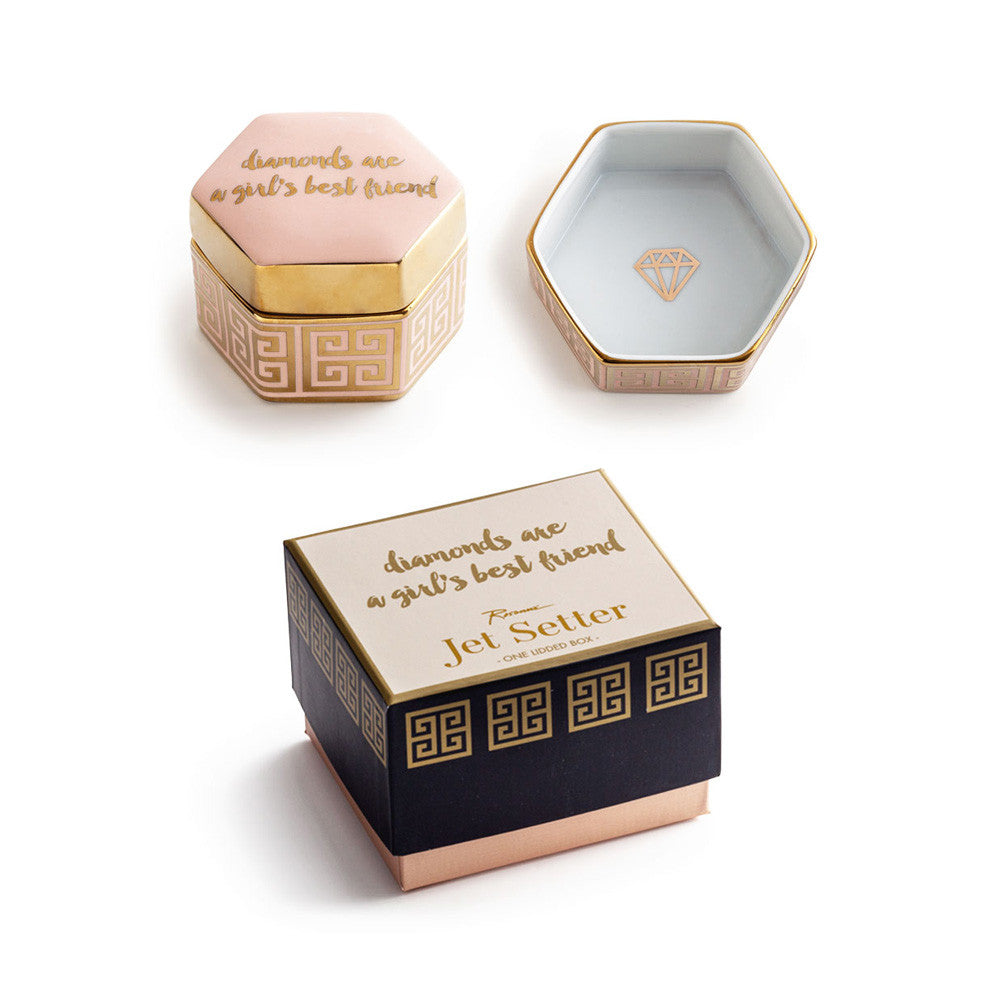 "Rosanna Porcelain Lidded Hexagon Box ""Diamonds Are A Girls Best Friend"""