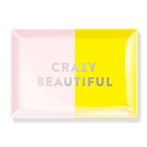"Fringe Rectangular Glass Tray ""Crazy Beautiful"""