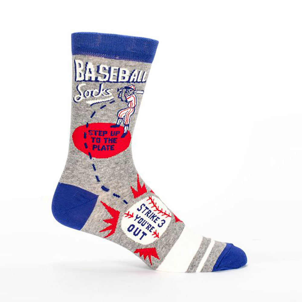 Baseball Socks Step Up To The Plate Strike 3 Your Out Men's Crew Socks