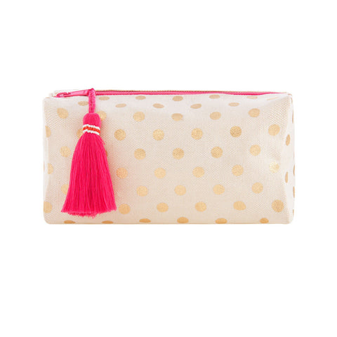 Gold Dots Cosmetic / Makeup Bag With Tassel