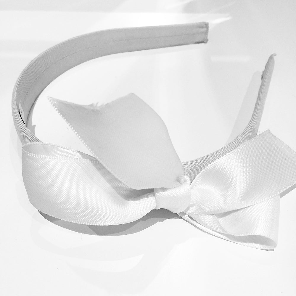 White Satin Bow Headband