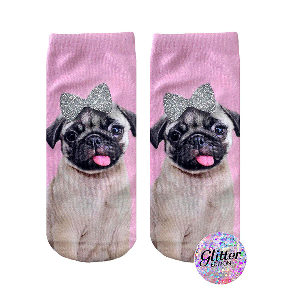 Pug With Bow Glitter Ankle Socks