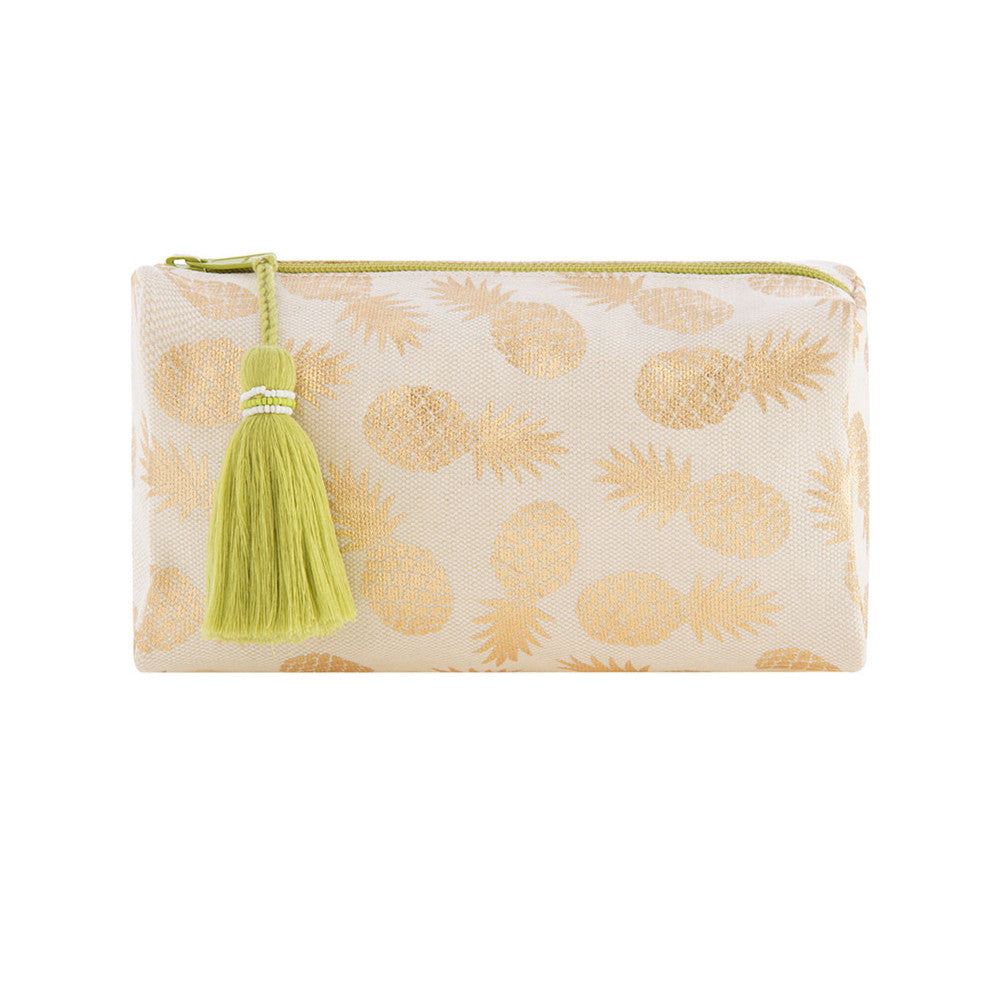 Gold Pineapples Cosmetic / Makeup Bag With Tassel