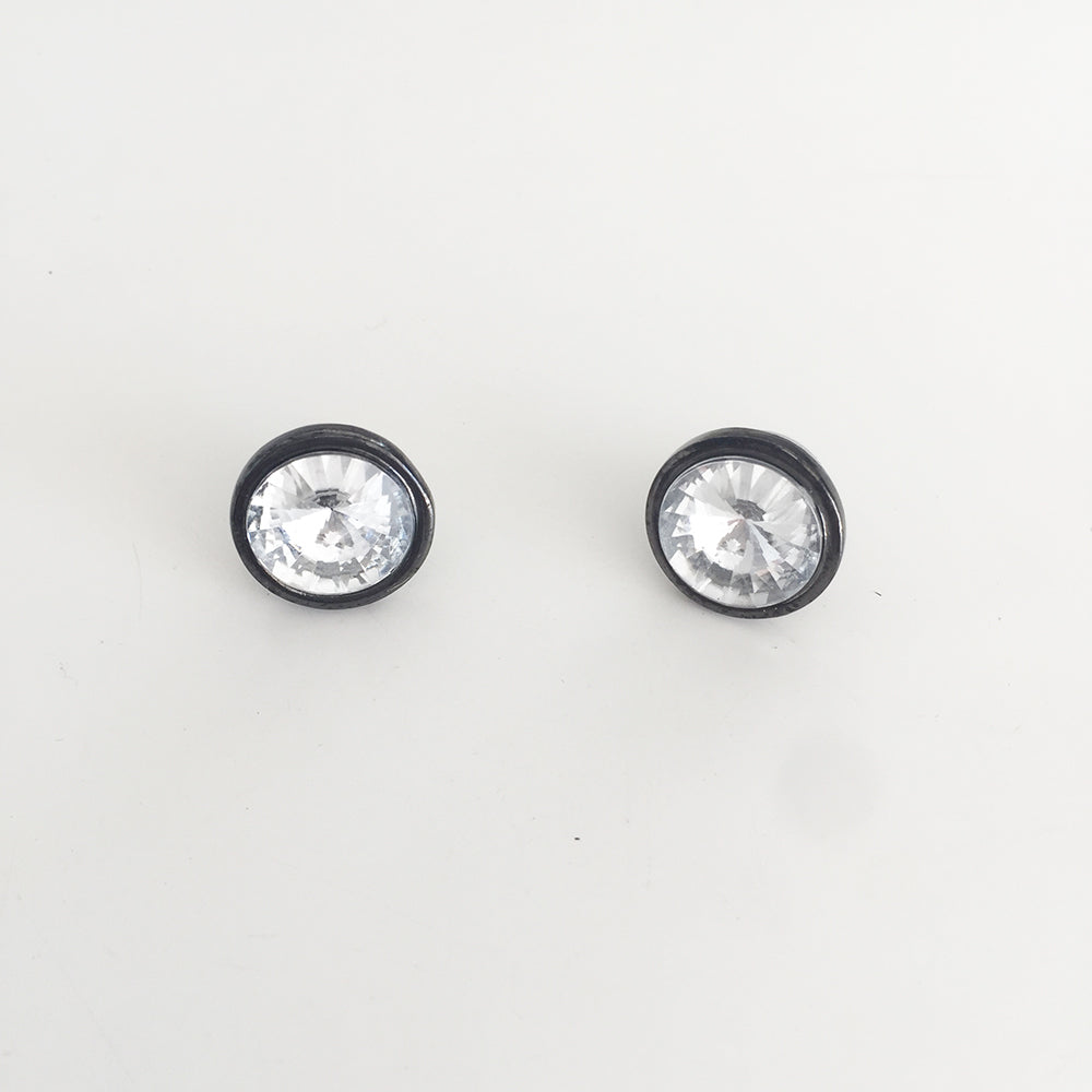 Diamond Black Circle Stud Earrings