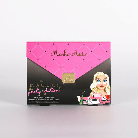 IN A CLUTCH Party Edition Set Includes Masks For (Face, Eyes & Lips )