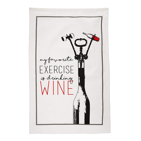 My Favourite Exercise Is Drinking Wine - Flour Sack Kitchen Towels