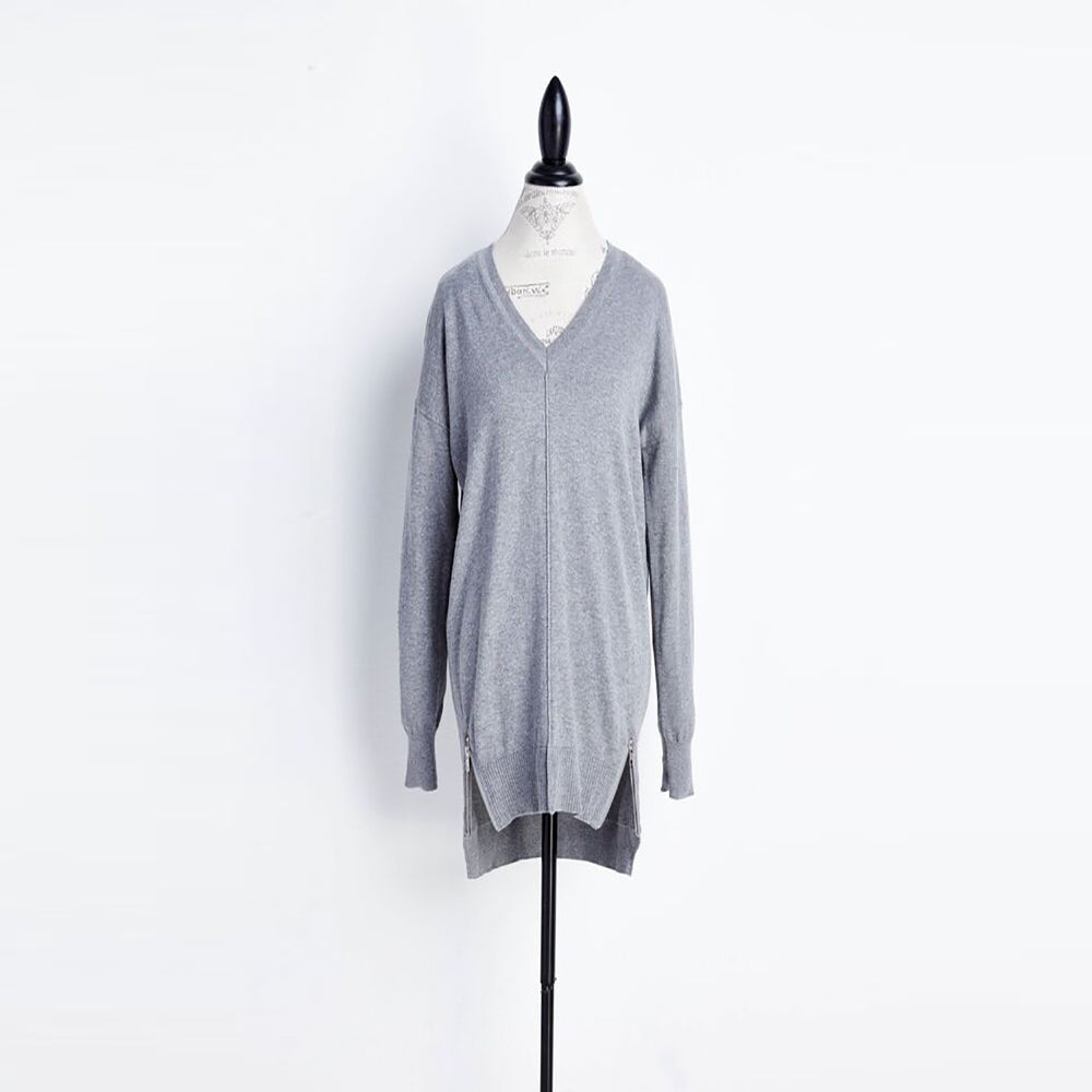 Long Grey Side Zip Sweater