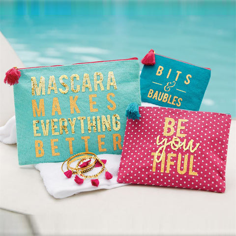 Mascara Makes Everything Better -  Sequin Makeup Case Set of 3
