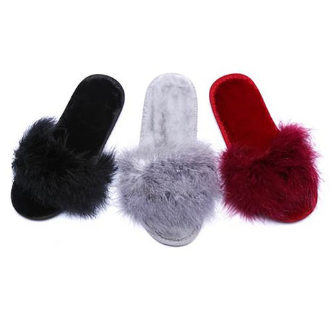 Rabbit Fur Slides/slippers