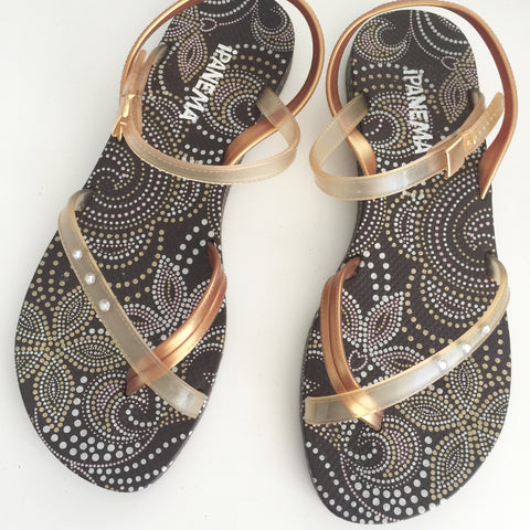 Ipanema Gold Strappy Flip Flop