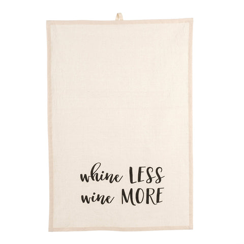 Whine Less Wine More Tea Towel