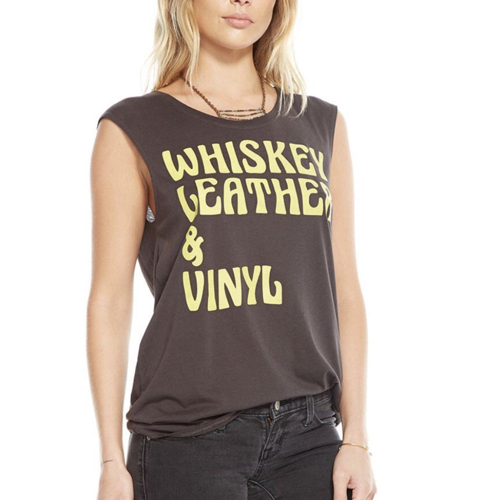 Whiskey Leather & Vinyl Muscle Tank