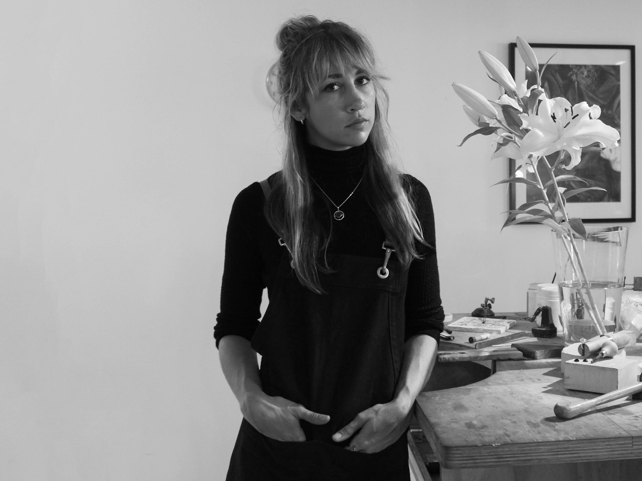 Designer Holly Ryan in her studio, designing exclusive pieces for The UNDONE