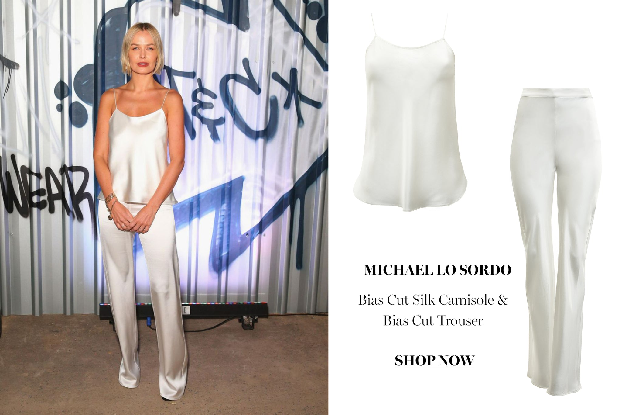 Lara Bingle Worthington wearing the Michael Lo Sordo Silk suit set available now at The UNDONE