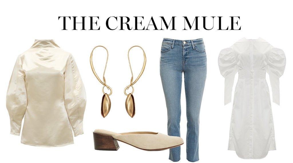 mari giudicelli cream mules-how to style