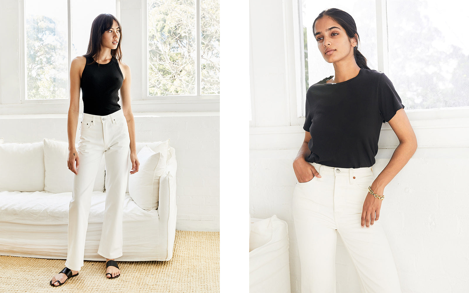 Outfit repeating: black tee and white jeans