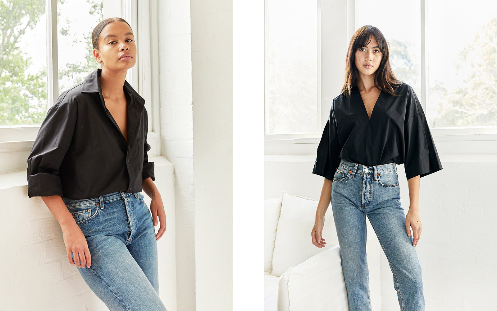 Outfit repeating - black top and blue jeans