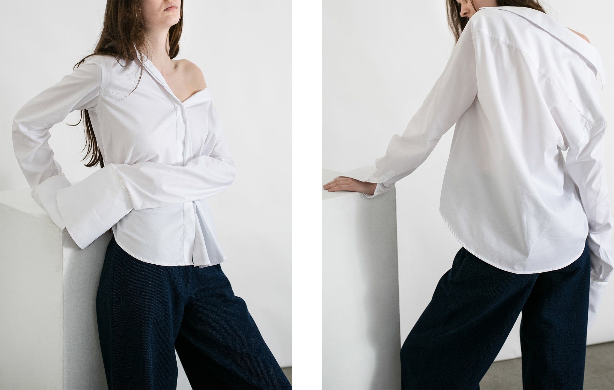 Styling Anna Quan Shirting off the shoulder