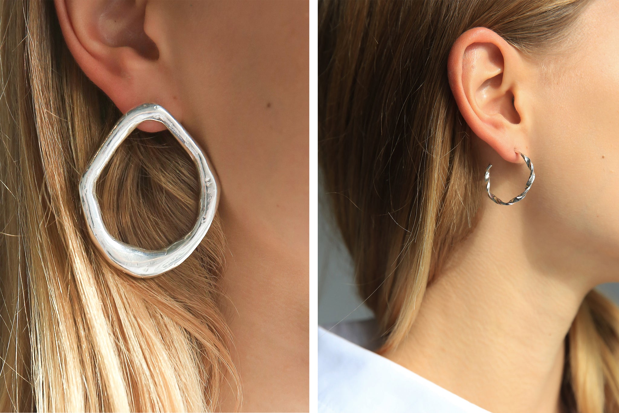 Silver statement earrings for summer at The UNDONE