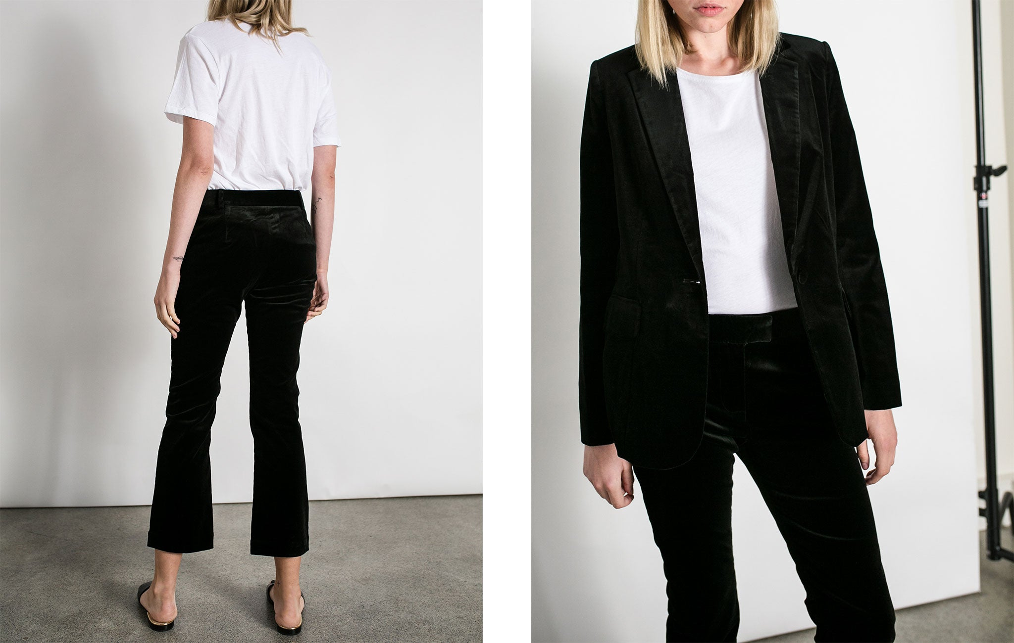 Frame denim la velvet mod suit jacket and black crop flare pants