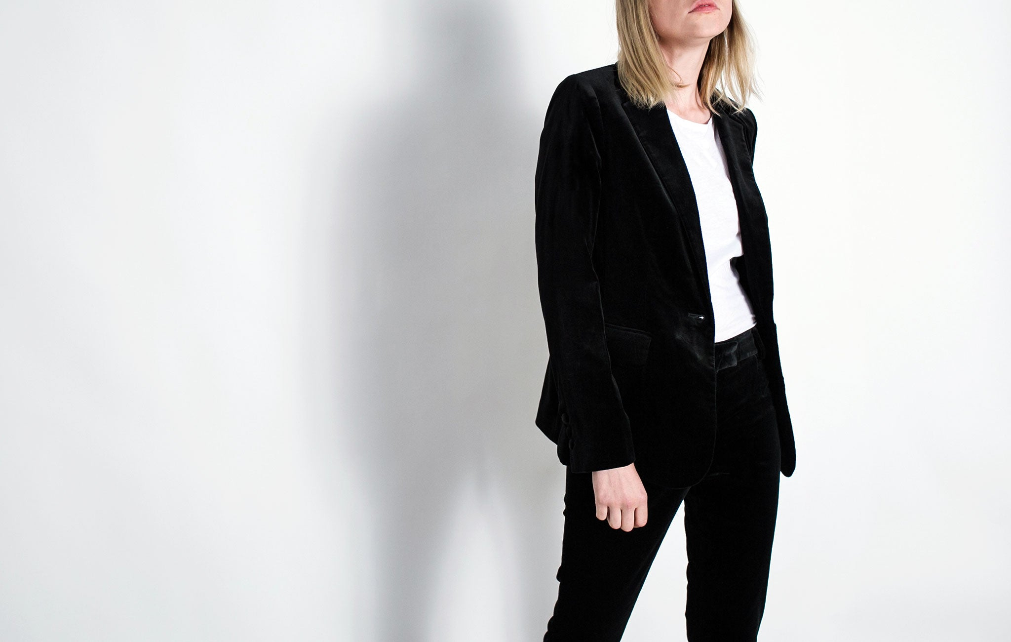 Frame denim velvet on trend minimalist suit from The UNDONE