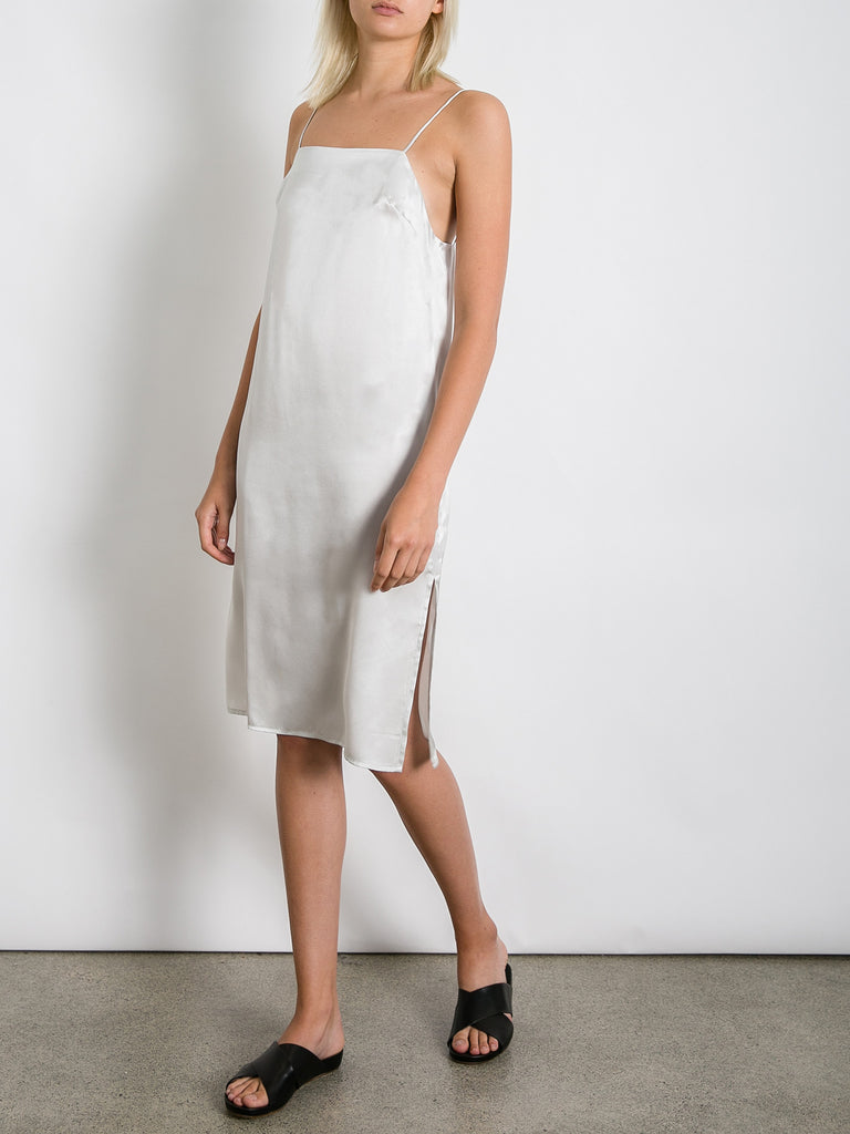 ffa649411b3a0 Matin Studio | Silver Square Neck Silk Dress | The UNDONE by Matin