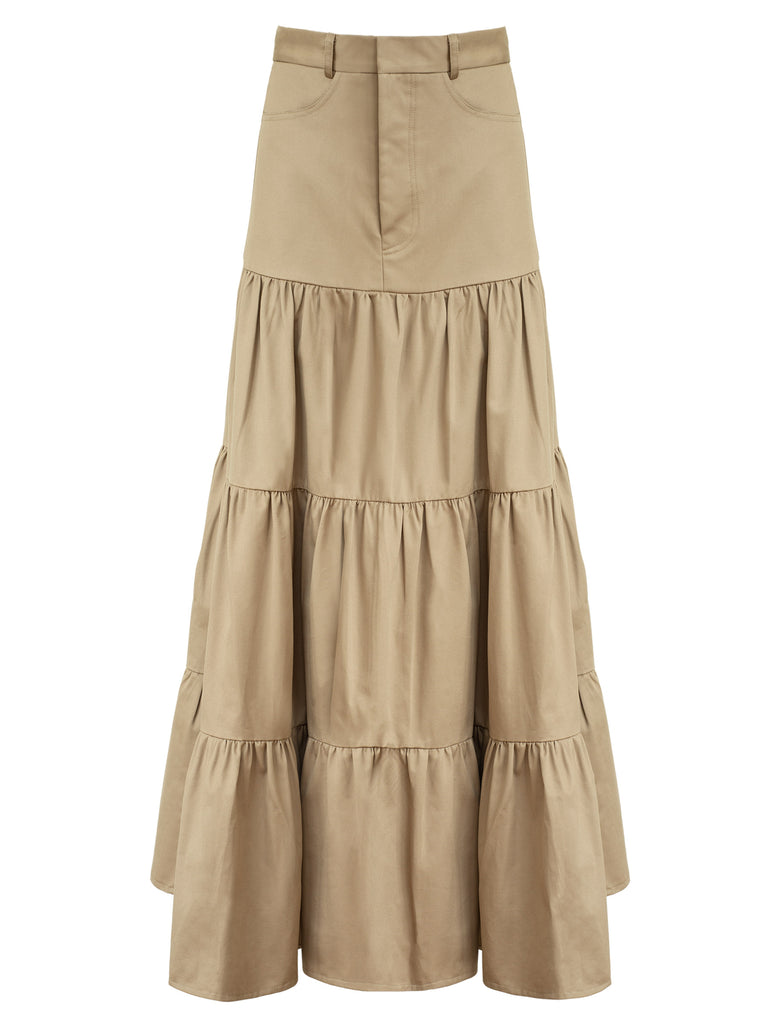 e22bf51c71 Matin | Long Gathered Tiered Skirt in Beige | The UNDONE by Matin