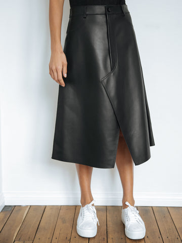145511b73e Dion Lee | Leather Shadow Stitch Skirt in Black | The UNDONE by Dion Lee