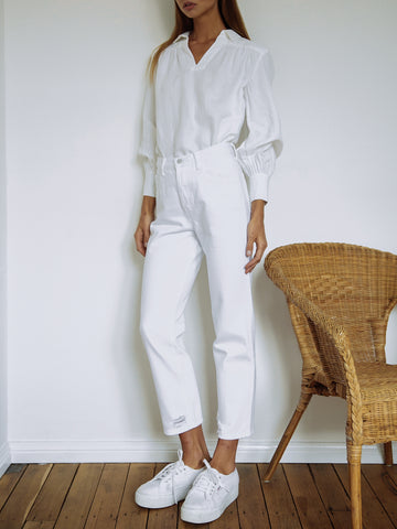 Frame Denim | Washed Down Popover in Blanc | The UNDONE by Frame Denim