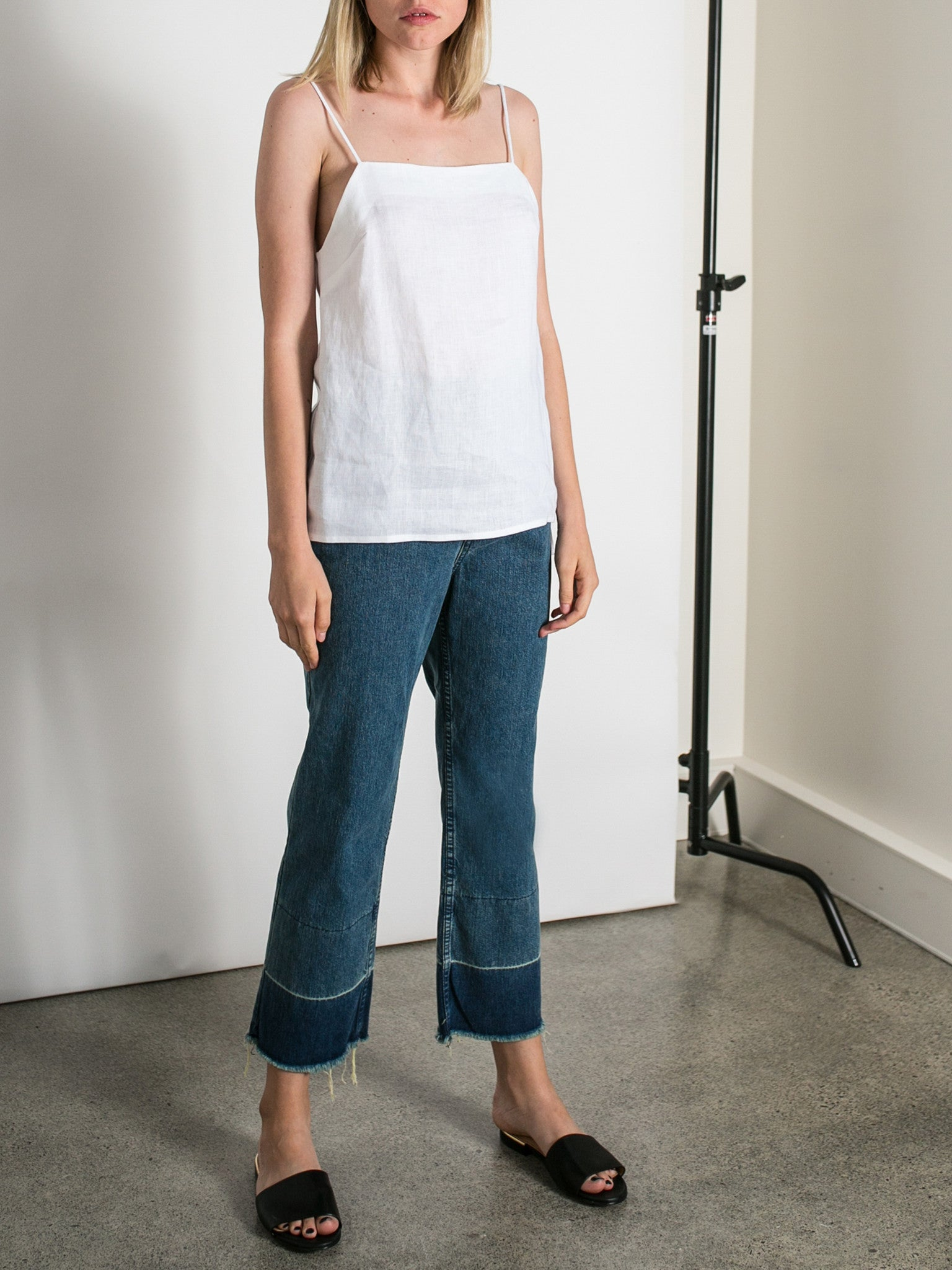Image result for linen cami and girlfriend jeans