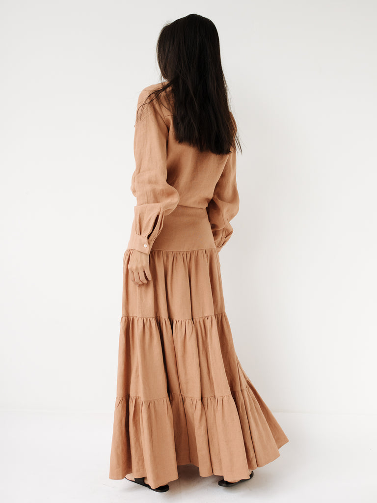 2a3eacb775 Matin Studio | Long Tiered Skirt in Tan Linen | The UNDONE by Matin