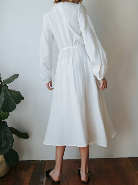 Matin Studio Long Wrap Dress In White The Undone By Matin