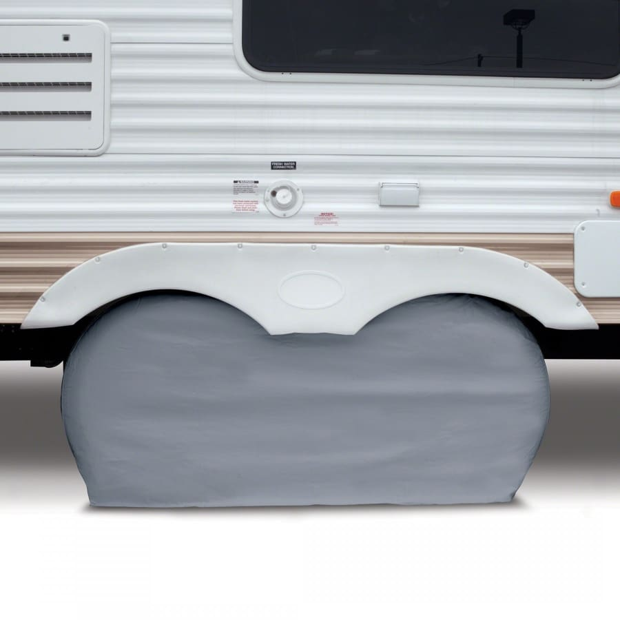Dual Axle RV Wheel Covers by Classic Accessories - SMALL - UP TO 27 WHEEL DIAMETER (8 TIRE WIDTH) / Gray - Dual Wheel Cover