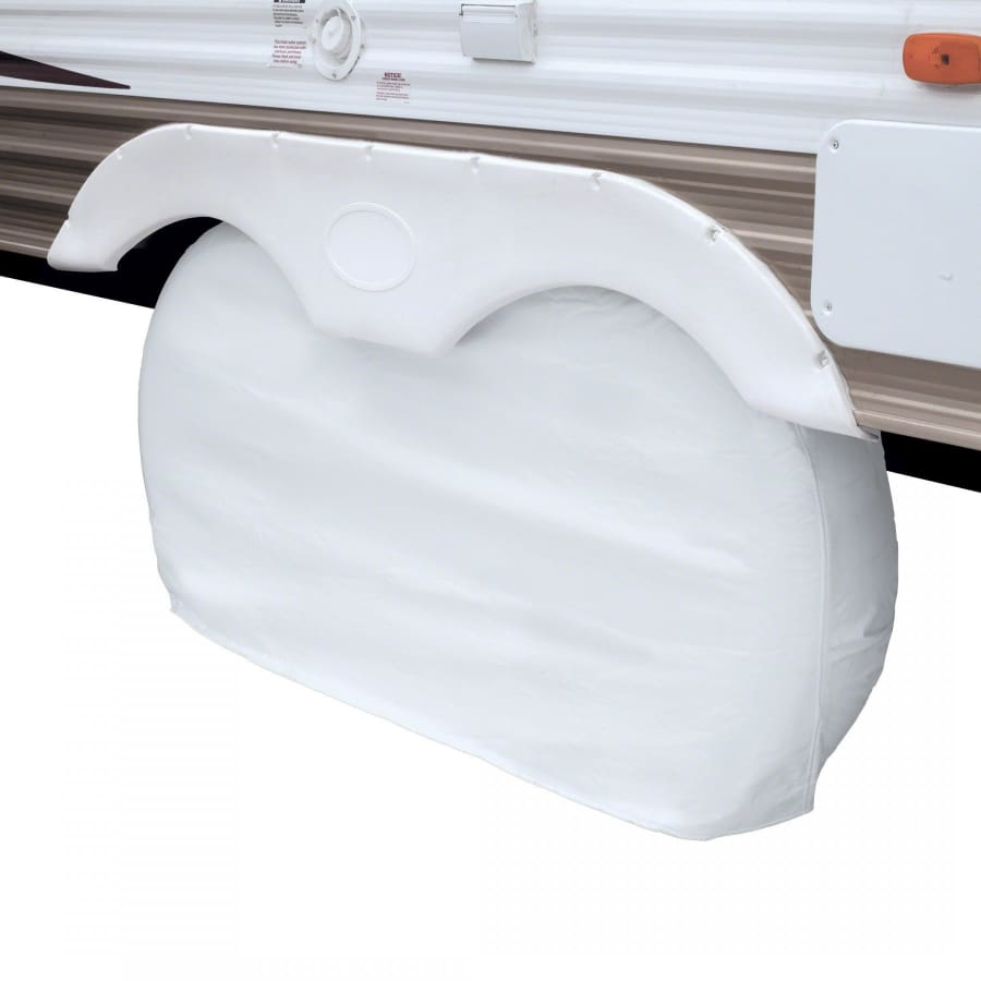 Dual Axle RV Wheel Covers by Classic Accessories - SMALL - UP TO 27 WHEEL DIAMETER (8 TIRE WIDTH) / Snow White - Dual Wheel Cover