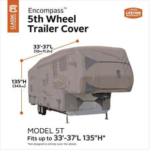 Encompass 5th Wheel Cover RV Covers by Classic Accessories - 33-37L 135 Max Height - 5th Wheel