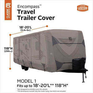 Encompass Travel Trailer RV Camper Cover by Classic Accessories - 18-20L 118 Max H - Travel Trailer