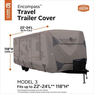 Encompass Travel Trailer RV Camper Cover by Classic Accessories - 22-24L 118 Max H - Travel Trailer