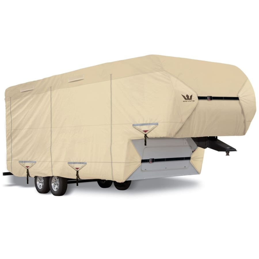Tan and Gray S2 Expedition Fifth Wheel Trailer Covers by Eevelle Marine Grade Waterproof Fabric Roof