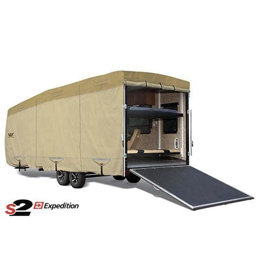 Expedition S2 Travel Trailer Toy Hauler Cover RV Covers by Eevelle - 21-22 270L x 106W x 120H / Tan - Toy Hauler