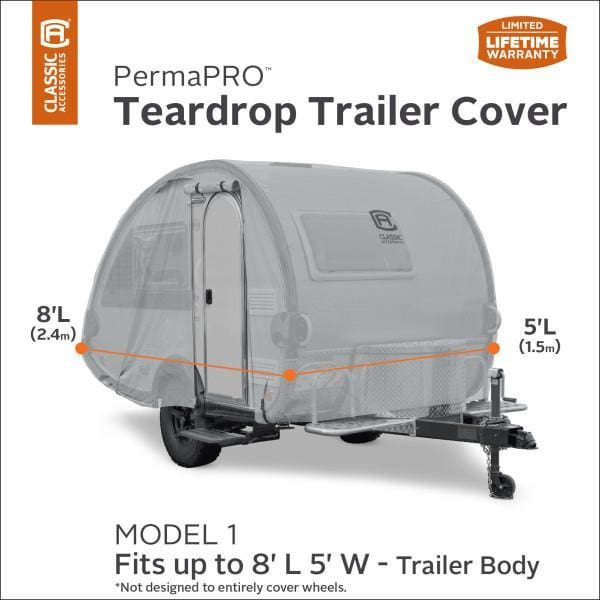 PermaPRO Teardrop Camper Cover / Clamshell Travel Trailer Cover RV Covers by Classic Accessories - Model 1 - 8 L x 5W - Travel Trailer