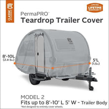 PermaPRO Teardrop Camper Cover / Clamshell Travel Trailer Cover RV Covers by Classic Accessories - Model 2 - 8-10 L x 5 W - Travel Trailer