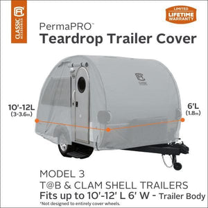 PermaPRO Teardrop Camper Cover / Clamshell Travel Trailer Cover RV Covers by Classic Accessories - Model 3 - 10-12 L x 6 W - Travel Trailer