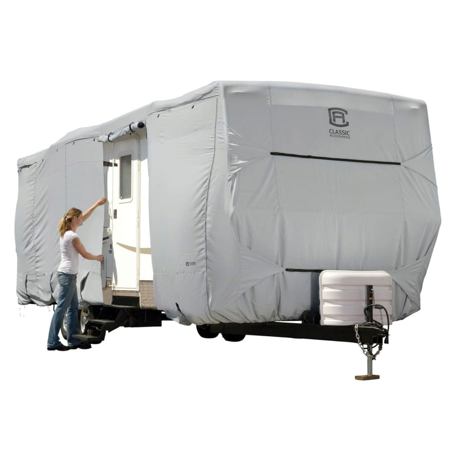 PermaPRO Travel Trailer RV Cover / Travel Trailer Toy Hauler RV Cover by Classic Accessories - Model 1- 18-20L 118max H - Travel Trailer &