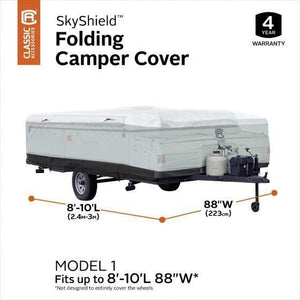 Skyshield Pop Up Camper Cover by Classic Accessories - (Model 1) 8-10 L 88 W - Pop Up Trailer