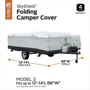 Skyshield Pop Up Camper Cover by Classic Accessories - (Model 3) 12-14L 88 W - Pop Up Trailer