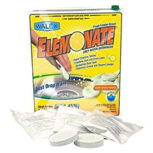 Walex Elemonate Fresh Lemon RV Gray Water Holding Tank Deodorizer Treatment - Single Pack of 5 Tablets - Drop Ins