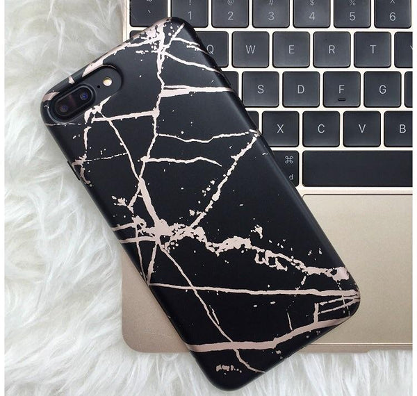 Black and Rose Chrome Marble Phone Case  - CASES A LA MODE